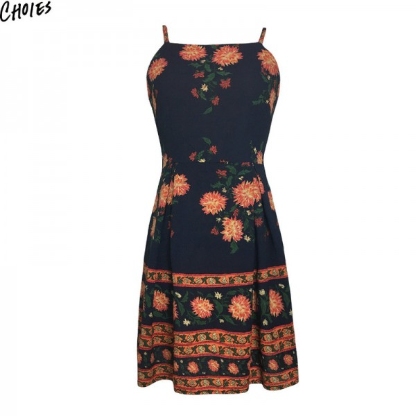 Navy Blue Floral Print Spaghetti Strap Mini A Line Dress Women Backless Sleeveless Back with Zipper Dresses Extra Image 2