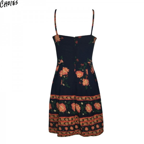 Navy Blue Floral Print Spaghetti Strap Mini A Line Dress Women Backless Sleeveless Back with Zipper Dresses Extra Image 4