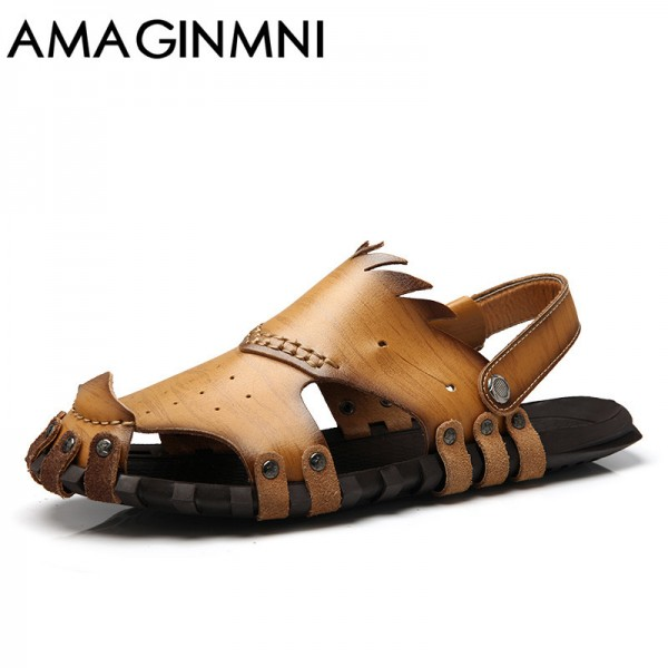 New 2018 Collection Of Slipper Genuine Leather Sandals Latest Casual Mens Summer Shoes Beach Flip Flops Extra Image 2