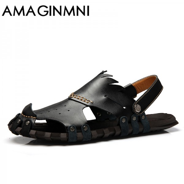 ... New 2018 Collection Of Slipper Genuine Leather Sandals Latest Casual  Mens Summer Shoes Beach Flip Flops ...