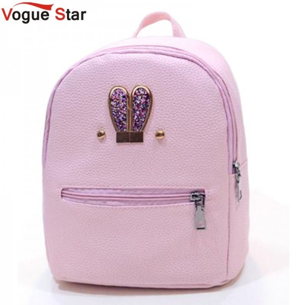 New 2018 Fashion Backpack Genuine Pu Leather Women Mini Shoulder Bag Cute Rabbit Ear Rivet Small Backpack For Girls Extra Image 1