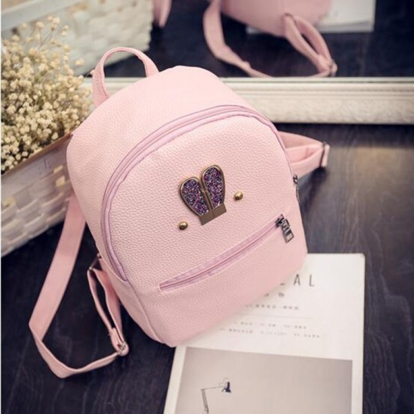New 2018 Fashion Backpack Genuine Pu Leather Women Mini Shoulder Bag Cute Rabbit Ear Rivet Small Backpack For Girls Extra Image 5