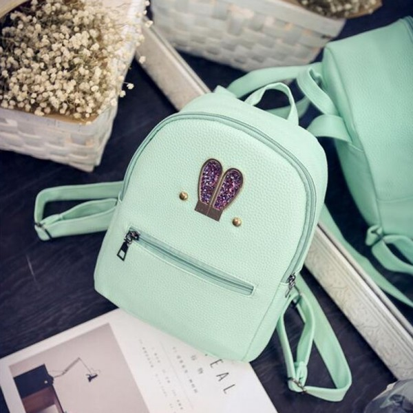 New 2018 Fashion Backpack Genuine Pu Leather Women Mini Shoulder Bag Cute Rabbit Ear Rivet Small Backpack For Girls