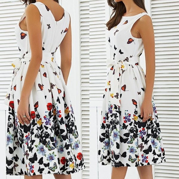 New 2018 Summer Dress For Women Butterfly Sleeveless Casual Dress Vintage Printed Plus Size Mini Dress Extra Image 1