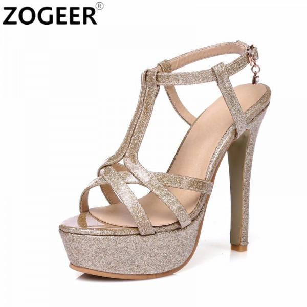 89e2d4ca8be6 Buy New 2018 Summer Gladiator Woman Sandals Fashion Platform High Heel  Luxury Gold Silver pink Red Wedding Shoes Woman