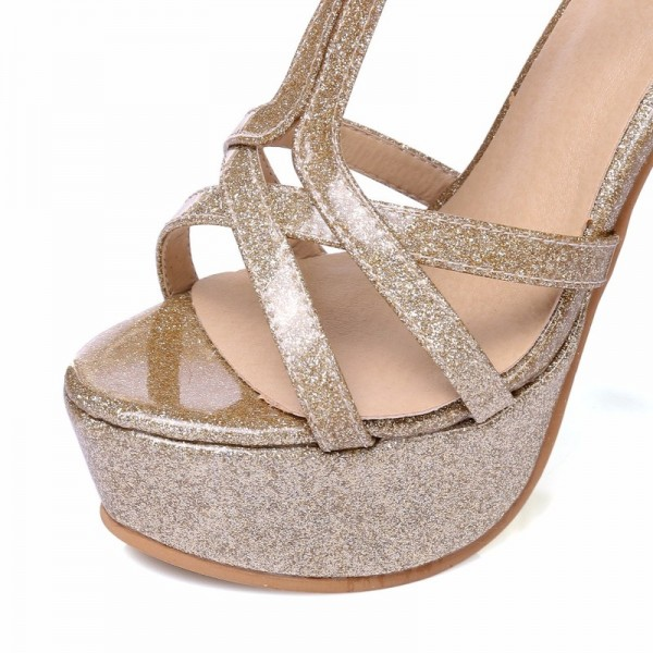 New 2018 Summer Gladiator Woman Sandals Fashion Platform High Heel Luxury Gold Silver pink Red Wedding Shoes Woman Extra Image 4