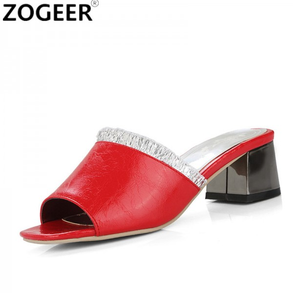 New 2018 Summer Leisure Thick Medium Heel Slippers Fashion Casual Sandals Sweet Red White Slides Causal Shoes Woman