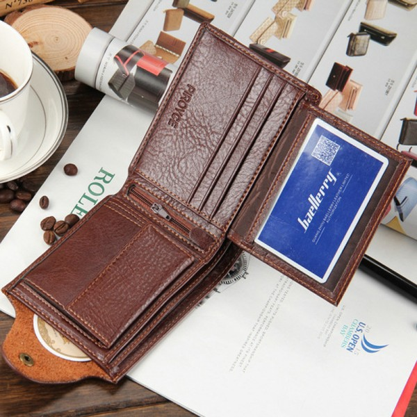 New 2019 Genuine Leather Brand Men Wallets Design Short Small Wallets Male Mens Purses Card Holder Purse Extra Image 5
