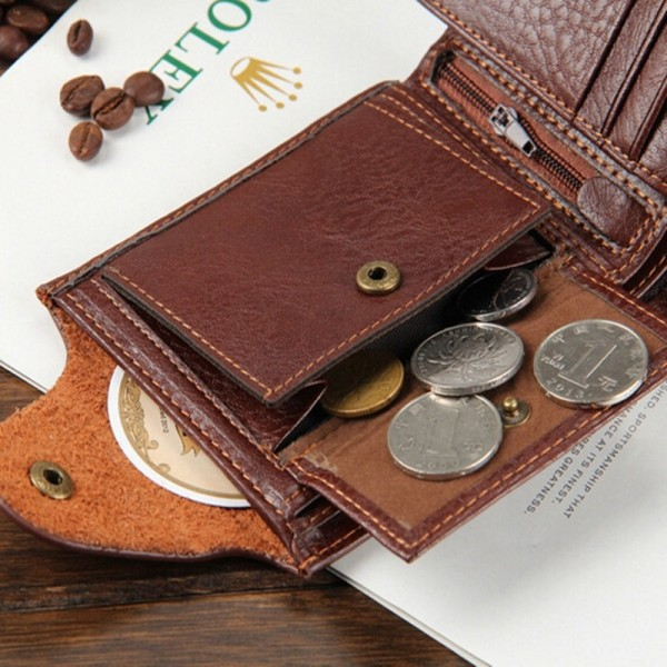 New 2019 Genuine Leather Brand Men Wallets Design Short Small Wallets Male Mens Purses Card Holder Purse Extra Image 6