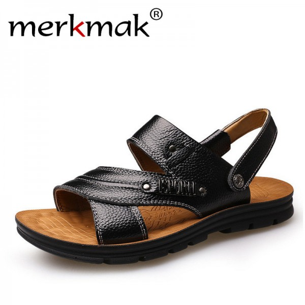 New Arrival 2018 Men Summer Sandals Mens Genuine Leather Shoes Casual Beach Sandals Slippers Flats Shoes Extra Image 1