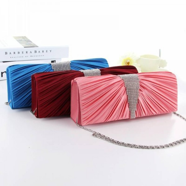 New Arrival European American Satin Diamond Messenger Clutches High Quality Party Prom Women Clutches Thumbnail