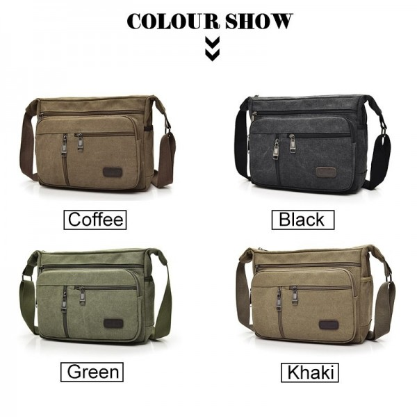 New Arrival Fashion Business Canvas Men Messenger Bags 2019 Latest Crossbody Shoulder Bag Casual Man Bag Extra Image 3