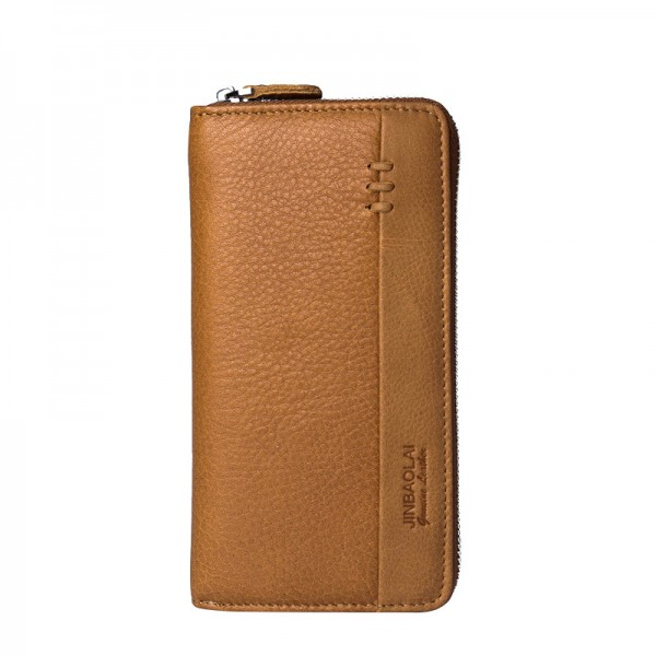 New Arrival Genuine Leather Mens Long Zipper Wallet Cowhide Casual Clutch Male Purse Card Holder Money Bag Extra Image 2
