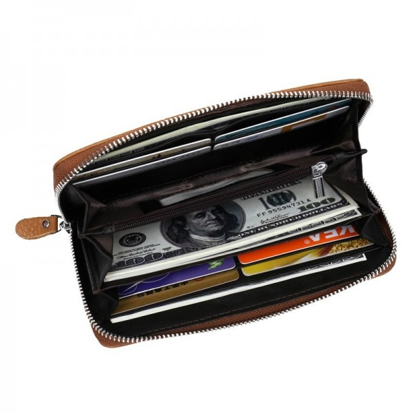 New Arrival Genuine Leather Mens Long Zipper Wallet Cowhide Casual Clutch Male Purse Card Holder Money Bag Extra Image 5
