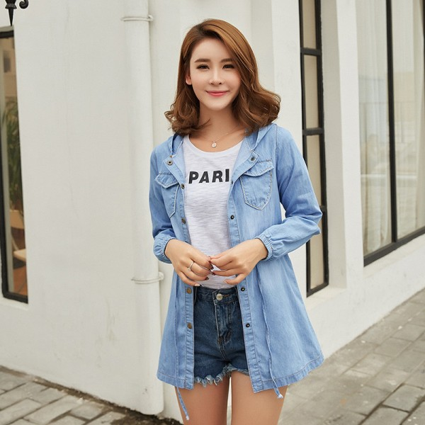 New Arrival Korean Hooded Denim Jacket Women Casual Adjustable Waist Jeans Coat Ladies Thin Denim Coats
