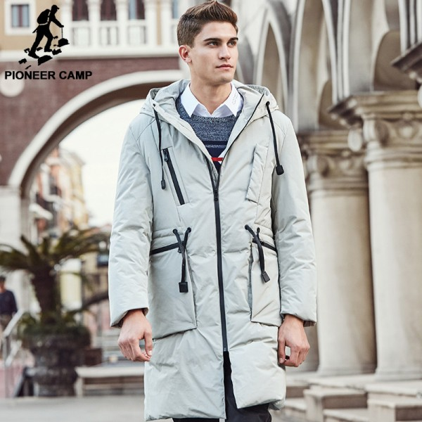 New arrival long thick brand winter duck down jacket men Top quality fashion warm white duck down coat male Extra Image 2