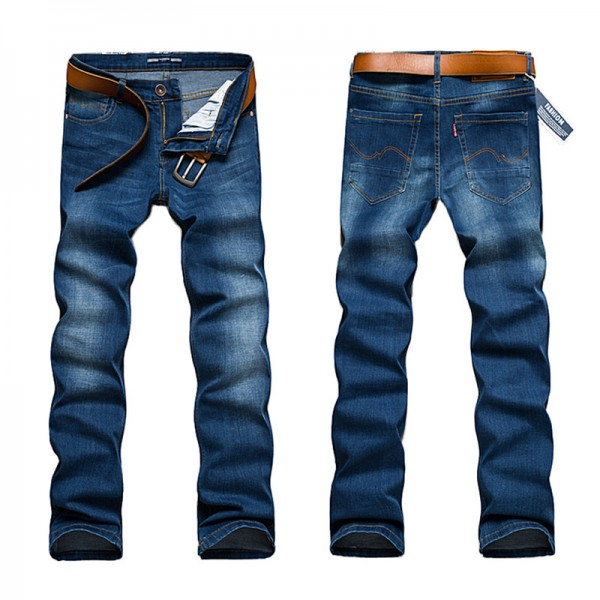 New Arrival Mens Casual Business Stretch Jeans Homme Slim Fit Denim Pants Male Skinny Washed Details elastic Pants Extra Image 2