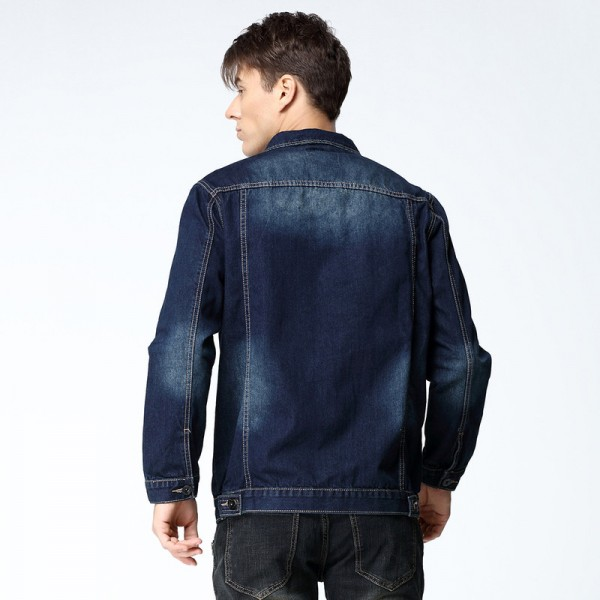 New Arrival Mens Denim Jacket Coat Hip Hot Loose Fit Wash Cotton Big Men Large Size Blue Denim Jackets Male Outwear Extra Image 3