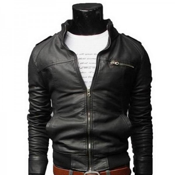 New Arrival PU Leather Jacket Men Long Stand Collar Solid Color Jackets Coats Mens Leather Jackets Mens Clothing Extra Image 2