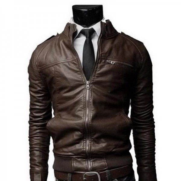 New Arrival PU Leather Jacket Men Long Stand Collar Solid Color Jackets Coats Mens Leather Jackets Mens Clothing Extra Image 3