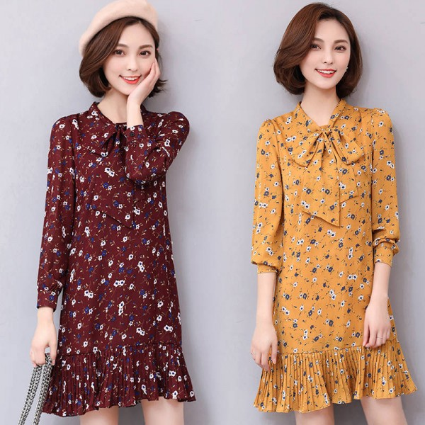 New Arrival Spring Summer Bow Collar Dress Floral Print Chiffon Casual Elegant Dress Thumbnail