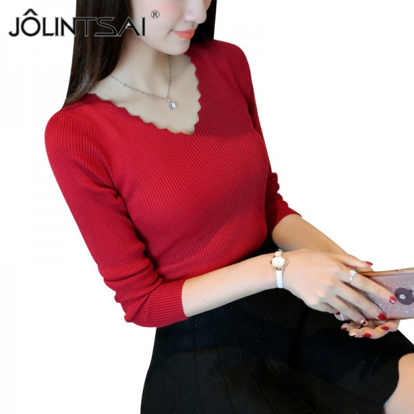 New Arrivals Autumn Fashion V Neck Elegant Knitted Sweater Women Casual Long Sleeve Pullovers Winter Warm Knitwear Extra Image 1