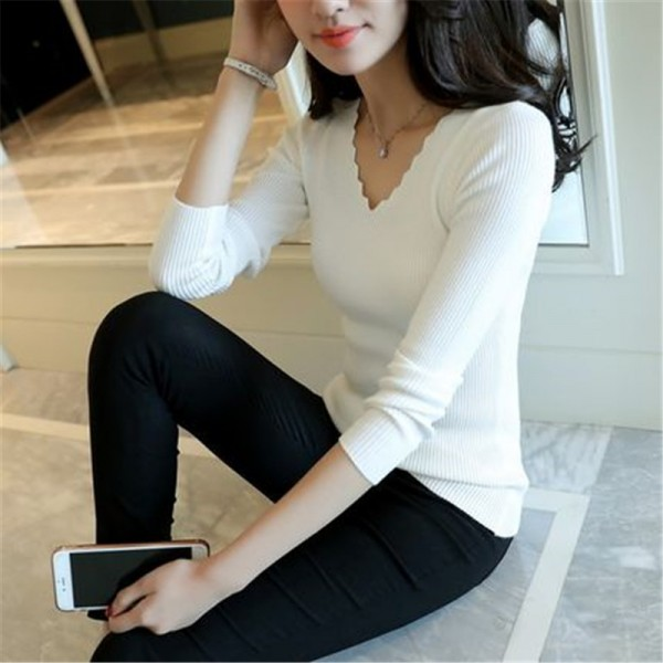 New Arrivals Autumn Fashion V Neck Elegant Knitted Sweater Women Casual Long Sleeve Pullovers Winter Warm Knitwear Extra Image 6