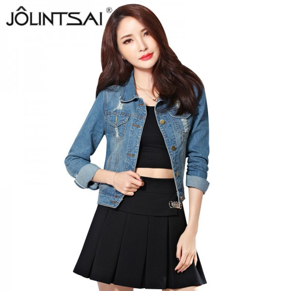New Arrivals Women Basic Coat Long Sleeve Denim Jacket Spring Autumn Jacket For Women Jeans Jacket Vintage Denim Coat Extra Image 1