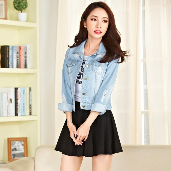 New Arrivals Women Basic Coat Long Sleeve Denim Jacket Spring Autumn Jacket For Women Jeans Jacket Vintage Denim Coat Extra Image 4
