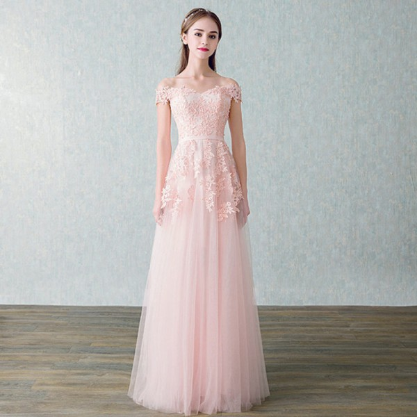 f8c69c012 New Arrived Women Beading Long Evening Dresses Elegant Lace Boat Neck  Banquet Sexy Ladies Formal Party Gown