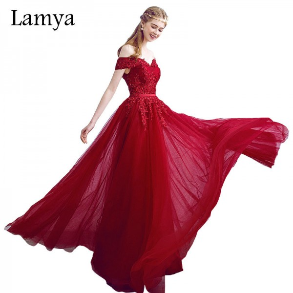 New Arrived Women Beading Long Evening Dresses Elegant Lace Boat Neck Banquet Sexy Ladies Formal Party Gown Extra Image 1