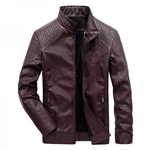 New autumn and winter mens leather jacket coat classic British motorcycle leather jacket leisure clothing Plus Size Extra Image 2