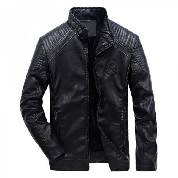 New autumn and winter mens leather jacket coat classic British motorcycle leather jacket leisure clothing Plus Size Extra Image 3