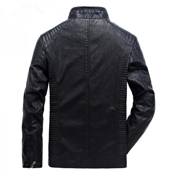 New autumn and winter mens leather jacket coat classic British motorcycle leather jacket leisure clothing Plus Size Extra Image 5