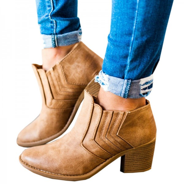 New Autumn and Winter Pointed Toe Buckle Low Heel Hollow Out Outdoor Motorcycle Riding Ankle Booties Boots Extra Image 1