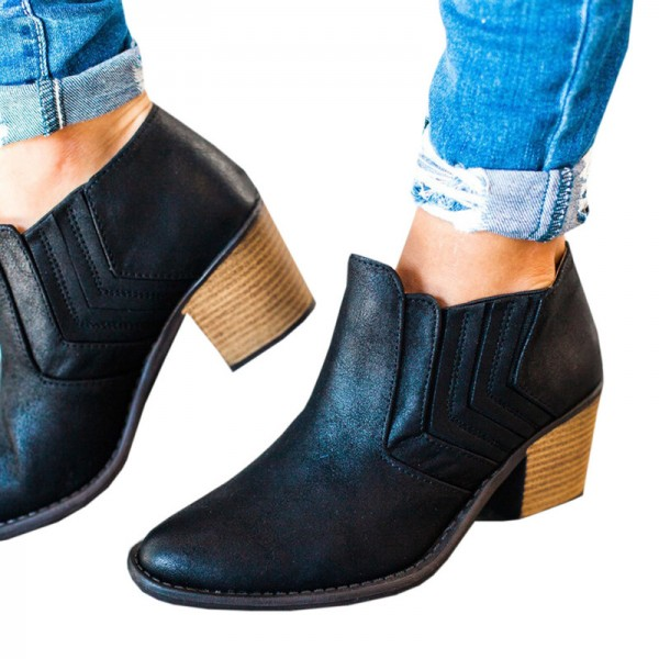 New Autumn and Winter Pointed Toe Buckle Low Heel Hollow Out Outdoor Motorcycle Riding Ankle Booties Boots Extra Image 5