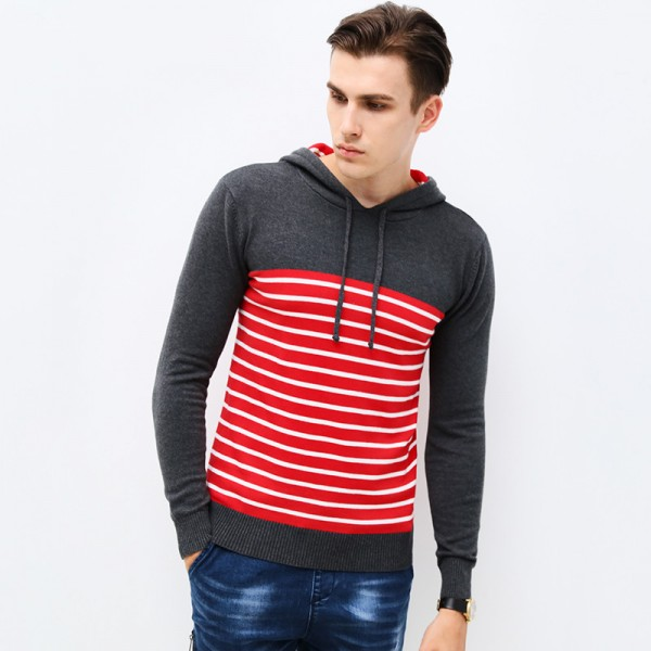 New Autumn Clothing Sweater Men Fashion Hooded Slim Fit Winter Pullover Men Cotton Knitted Striped Sweater Men Extra Image 4