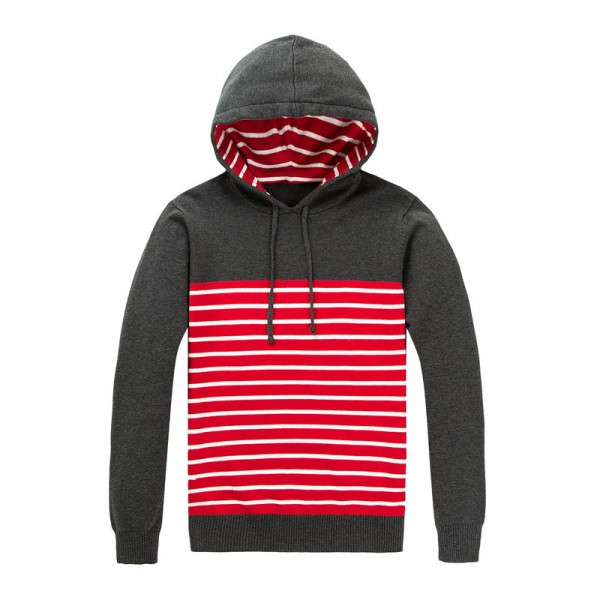 New Autumn Clothing Sweater Men Fashion Hooded Slim Fit Winter Pullover Men Cotton Knitted Striped Sweater Men Extra Image 6