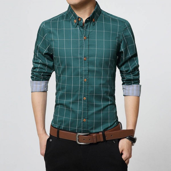 New Autumn Fashion Brand Slim Long Sleeve Plaid Cotton Shirts Men Thumbnail