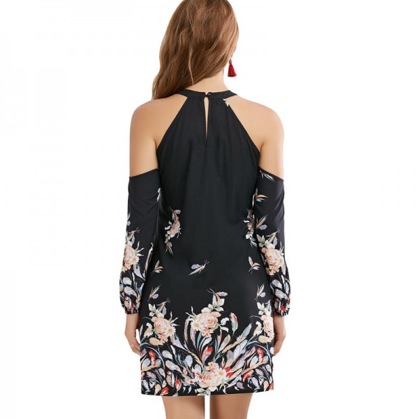 New Autumn Floral Border Shift Dress Cold Shoulder Long Sleeve Shift Mini Dress For Ladies At Cheap Prices Extra Image 5