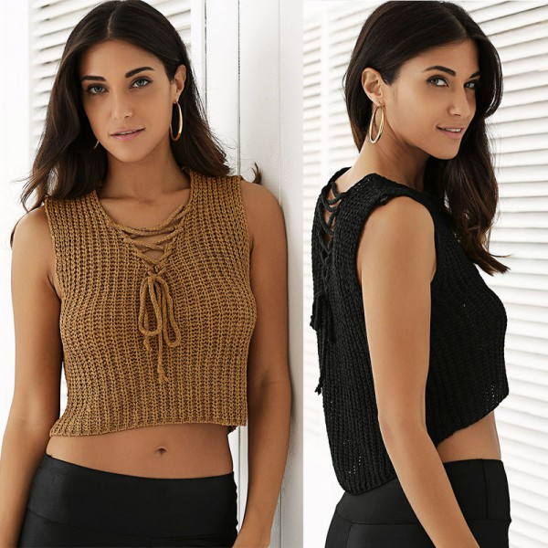 New Autumn Knitted Tops T Shirts Women Sexy V Neck Sleeveless Bandage Cotton Solid Knitted tank Tops Female Vest Extra Image 2
