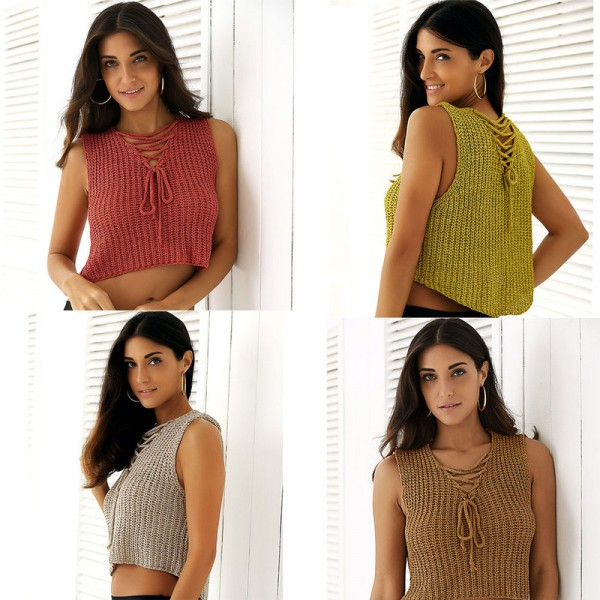 New Autumn Knitted Tops T Shirts Women Sexy V Neck Sleeveless Bandage Cotton Solid Knitted tank Tops Female Vest Extra Image 5