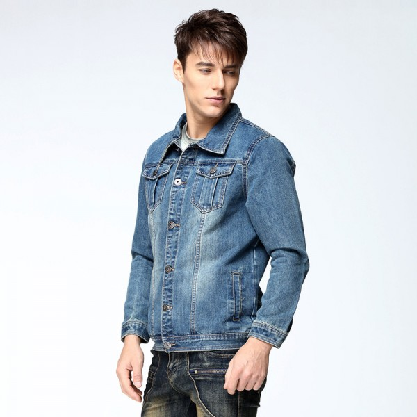 1427cdfb157 Buy Autumn Mens Denim Jacket Coat Single Breasted Loose Fit Light Blue Big  Men Plus Size Male Jeans Outwear Jackets