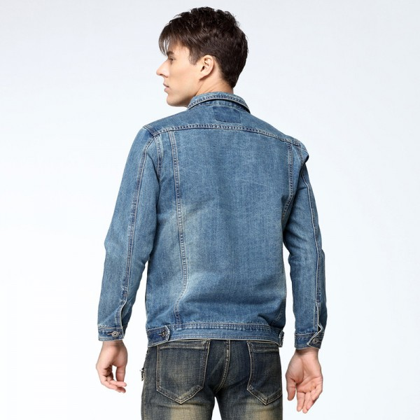 New Autumn Mens Denim Jacket Coat Single Breasted Loose Fit Light Blue Big Men Plus Size Male Jeans Outwear Jackets Extra Image 3