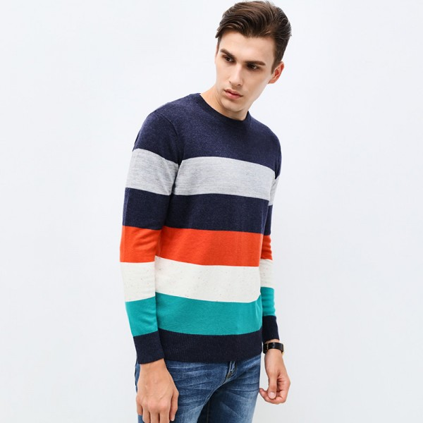 New Autumn Winter Brand Clothing Sweater Men Fashion Thick Stripe Slim Fit Winter Pullover Men Knitted Sweater Men
