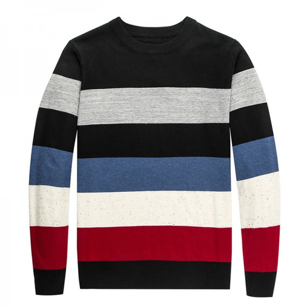 New Autumn Winter Brand Clothing Sweater Men Fashion Thick Stripe Slim Fit Winter Pullover Men Knitted Sweater Men Extra Image 6