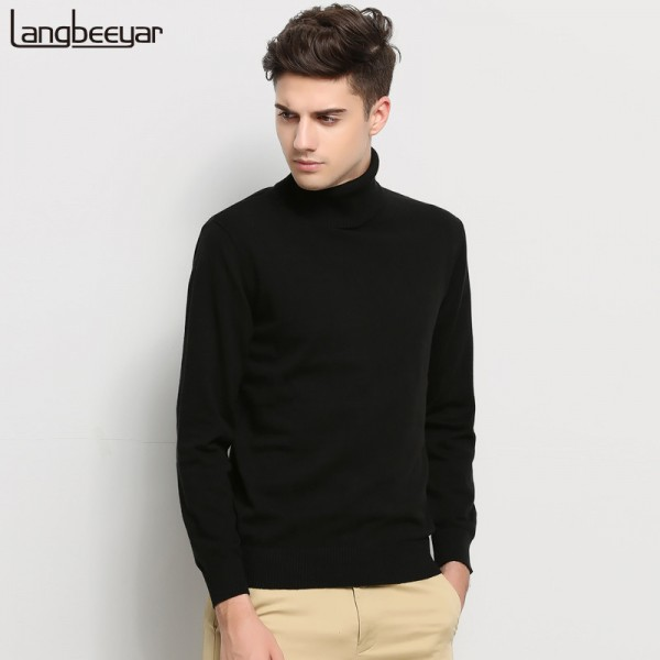 New Autumn Winter Brand Clothing Sweater Men Turtleneck Slim Fit Winter Pullover Men Solid Color Knitted Sweater Men Extra Image 1