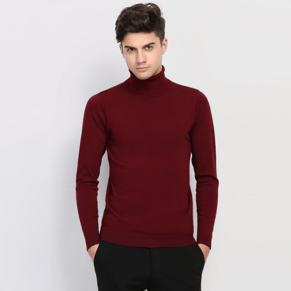 Buy Autumn Winter Brand Clothing Sweater Men Turtleneck Slim Fit ...