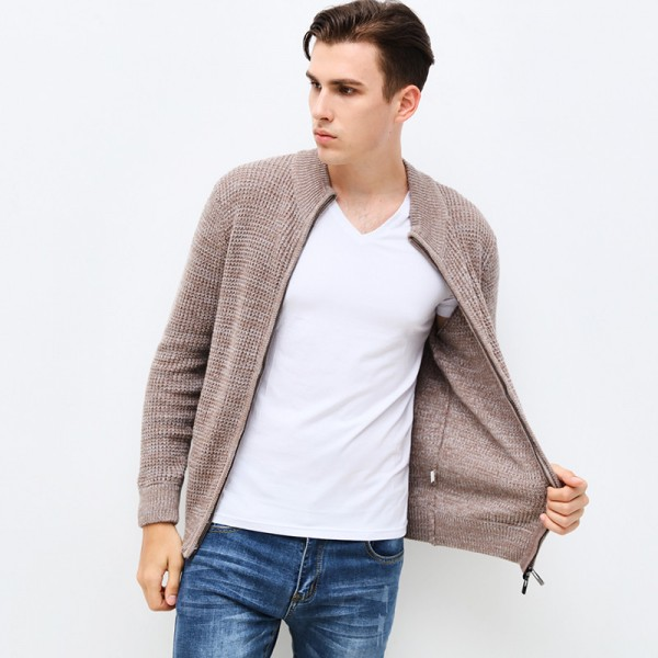 New Autumn Winter Fashion Brand Clothing Mens Sweaters Zipped Slim Fit Mens Cardigans High Quality Sweaters For Men Extra Image 3