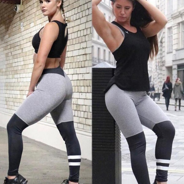 New Autumn Winter Gray Black Ring Stitching Breathable Slim Leggings Patchwork Fitness Female  Leggings For Ladies